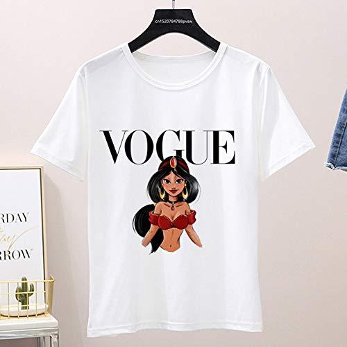 XiXi Gráfico de Verano Las Mujeres Camiseta, Mujer Divertido Vogue Camiseta, Tapas de Corea (Color : P1002 15 White, Size : S)