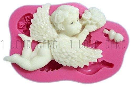 Siliconen mal voor ambachtelijk gebruik van een engel die met bloemen in zijn hand vliegt - ook geschikt voor zeep