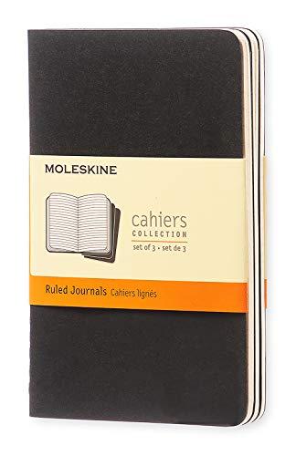 Moleskine Cahier Journal (3er Set Notizbücher mit karierten Seiten, Kartoneinband und Baumwollstickerei, Pocket 9 x 14 cm, 64 Seiten) schwarz