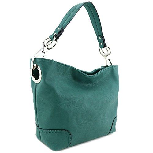 Women's Hobo Shoulder Bag with Big Snap Hook Hardware Green