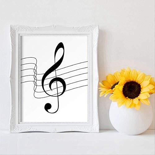 LWJZQT canvasdruk muzieknoten afdrukken muziek piano leraar cadeau modern minimalistisch zwart-wit beeld canvas schilderij decoratie huis muur decoratie