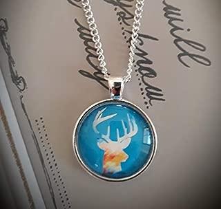 オクトーバーフェスト、ギャザーリングネックレス「鹿」、ドームガラスジュエリー、純粋な手作り