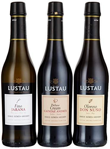 Lustau Sherry Trio Deluxe Geschenkpackung Jarana, Don Nuno, Moscatel Emilin (3 x 0.375 l)