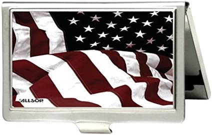 American Flag Personalized Custom Business Card Holder - Metal Stainless Steel Pocket ID Card Case Box Holder