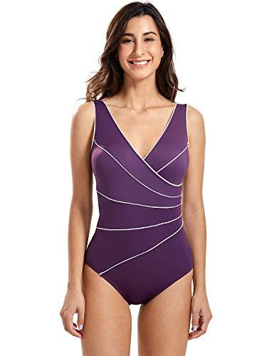 DELIMIRA Damen Große Größen Bademode - Schale Einteiler Schlankheits Badeanzug dunkel-lila 44