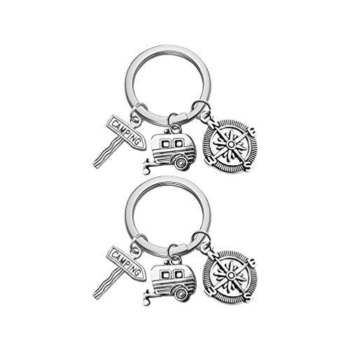 TOYANDONA 2 Stück Camping Schlüsselbund Kompass Schlüsselbund Camping Schlüsselring Glücklich Camper Geschenke für Männer Frauen Camper Traveller