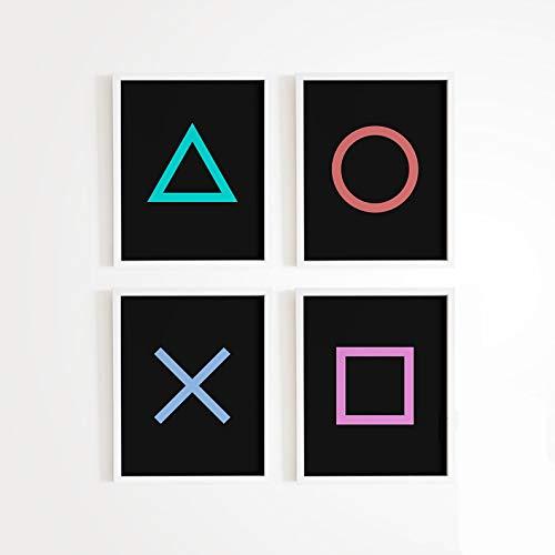 Game Room Decor - Xbox / Playstation Gaming Poster - Set von (4) - Gamer Decor - Videospiel Poster 11x17 Größe (Playstation)