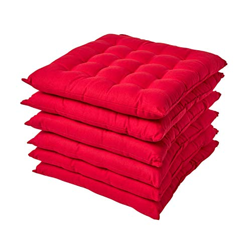 HOMESCAPES Red Seat Pads for Dining Chair, Set of 6 100% Cotton Chair Pads with Straps, 40x40 cm