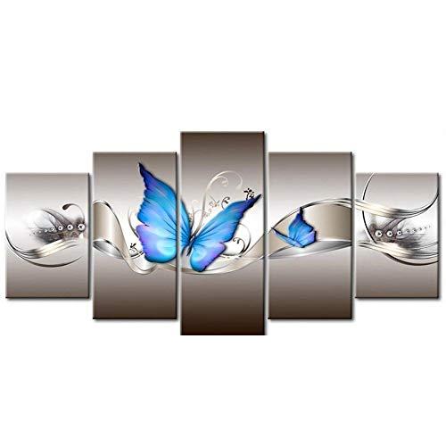 POLP Pintura de Diamantes kit 5d diamond pintura de diamantes flores hogar moderna decoracion bordado artesanias cruzadas Kit de decoracion para el hogar diamante pintura diy 5 partes-95 * 45cm