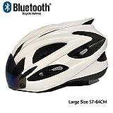 TKTTBD Specialized Fahrradhelm Erwachsene mit Bluetooth,Ultralight City Aerodynamik Verstellbar Radhelm mit Abnehmbarer Visier für Männer Frauen,Große Größe,CE-Zertifikat