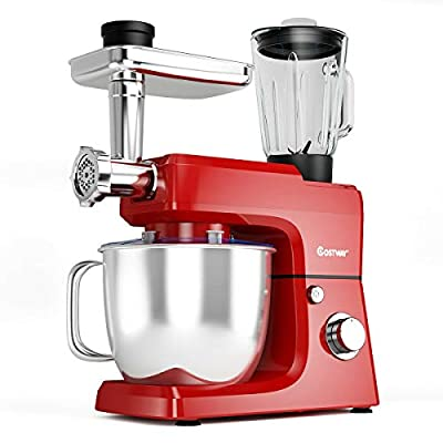 COSTWAY 3-in-1 Stand Mixer, 800W 6-Speed Tilt-Head Food Mixer, 7 QT Upgraded Kitchen Electric Mixer w/ Whisk, Dough Hook, 2 Beaters and 304 Stainless Steel Bowl, Meat Grinder, Juice Blender, Sausage Stuffer (Red)