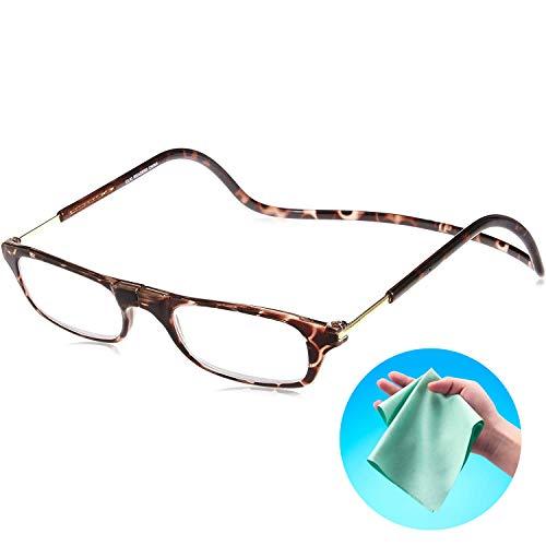 Clic Readers (クリックリーダー) リーディンググラス 老眼鏡 + 東レ トレシー クリーニングクロス セット (ブラウン,+1.00)