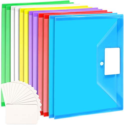 12 Pack Plastic Envelopes, LEOBRO A4 Size Plastic Folders with Pocket, Document File Folders with Snap Closure, Poly Envelopes for School Home Work Office, with 20 PCS Label Cards