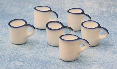 White Enamel Mugs, 6 Pack