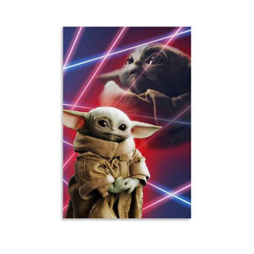YANGBD Lock Screen Baby Yoda Leinwand Kunst Poster und Wandkunst Bilddruck Moderne Familienzimmer Dekor Poster 08x12inch(20x30cm)