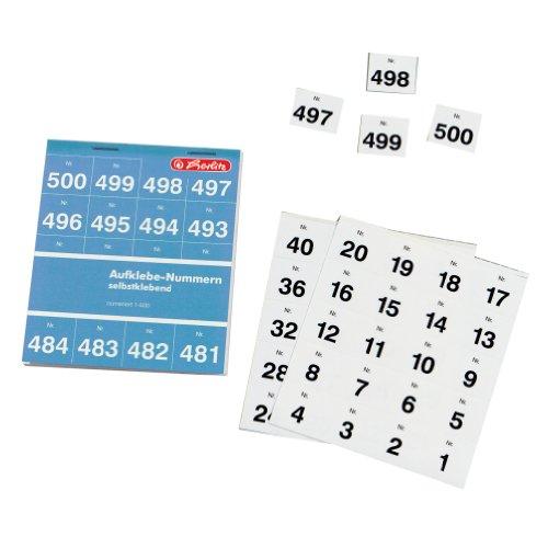 Herlitz 791871 Aufklebenummern Zahlen 1-500, einfach, schwarz, 25 x 21 mm selbstklebend
