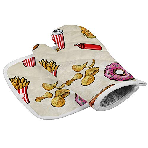 Diuangfoong Pizza Hamburger Chips Pommes Frites hitzebeständige Handschuhe Ofenhandschuhe Hot Pan Matte Küche Kochen Werkzeug für Mikrowelle Backen Grill Männer Frauen 2 Stück Set