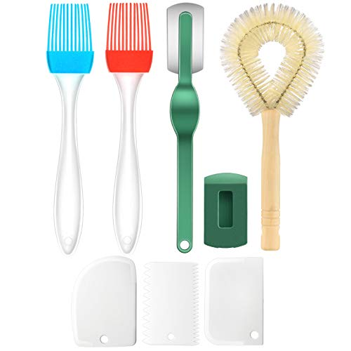8 Pieces Bread Baking Tool Set Includes Stainless Steel Dough Whisk Dough Bowl Scraper Ergonomic Bread Slashing Tool Oil Brush Dishwashing Brush for Homemade Bread Cake Pizza