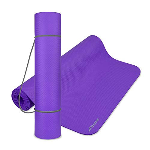 Trideer Portable Exercise Mat (4mm), Thinner Yoga Mat with More Stability for Pro, Anti-Tear Workout Mat, Pilates Mat with Carrying Strap for Floor Exercise and Fitness