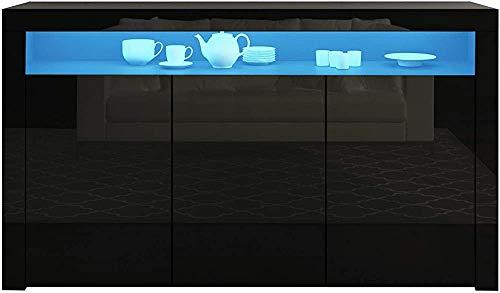 Hochglanz rechteckigen Platte Mahlzeit Mahlzeit Beistellschrank modernen Hochglanz-Seitenschrank 3,Black