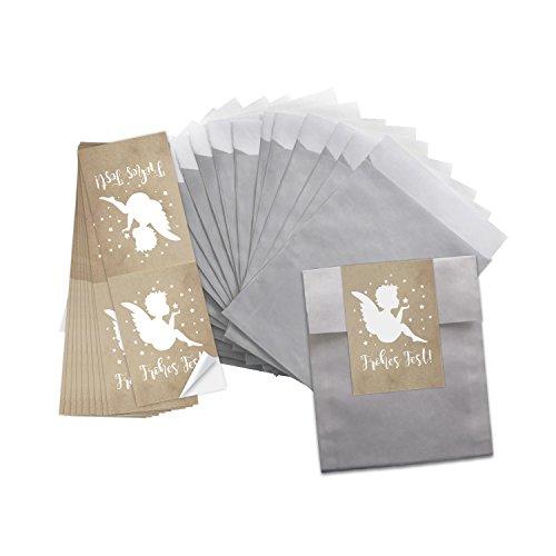 25 kleine zilverkleurige papieren zakjes 9,5 x 14 cm + 25 ENGEL-stickers FROHES FEST beige witte sterren 5 x 15 cm geschenkzakjes verpakking Kerstmis kerstzakken give-away