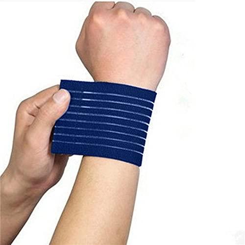 XKMY Pulsera de protección deportiva unisex, 1 pieza de brazaletes de deporte con vendaje elástico de mano, correa de muñeca, muñequera elástica ajustable (color: azul)