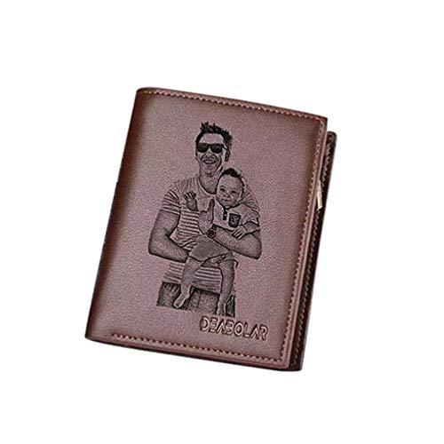 Personalisierte Leder Geldbörse Kostenlos Gravierte Foto Geldbörse Herren Vintage Geldbörse(Braun Einseitig F)