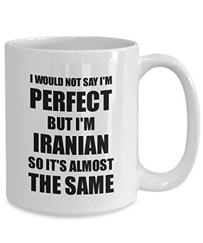 Lplpol iranische Tasse, lustige Geschenkidee für Männer und Frauen, Pride Zitat I'm Perfect Gag Neuheit Kaffee Tee Tasse witziges iranisches Geschenk für iranisches Geschenk 15 oz weiß