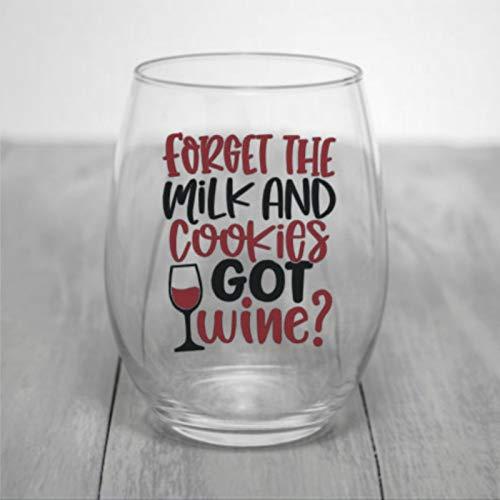 Verre à vin sans pied avec inscription « Forget Milk and Cookies Got Wine » - Verre à whisky gravé - Parfait pour un père, une maman, un garçon ou une petite amie