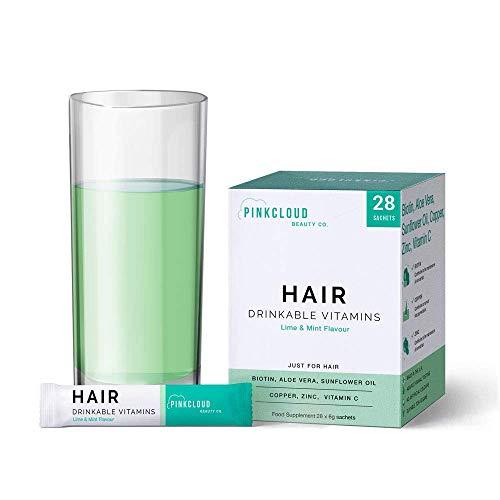 Vitaminas Bebibles para el Cabello con Biotina, Aloe Vera y Aceite de Girasol, suplemento de crecimiento del cabello vegano para cabello más largo y saludable | Pink Cloud Beauty Co.