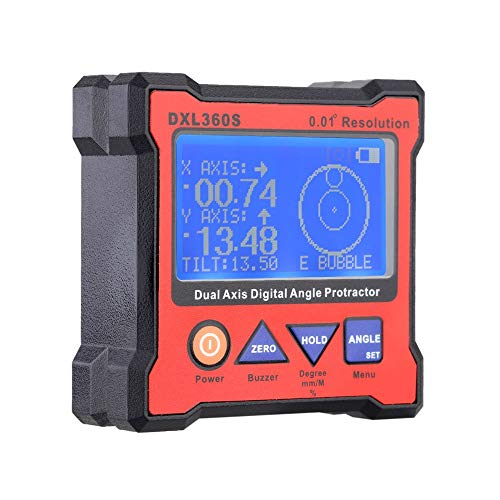 YEZIN Digital Meter DXL360S Professional Dual-axis Digital Display Level Gauge Dual Axis Digital Angle Protractor with 5 Side Magnetic Base for Laboratory, Industry,etc