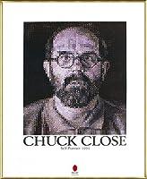 ポスター チャック クロース セルフポートレイト 1991 額装品 アルミ製ベーシックフレーム(ゴールド)