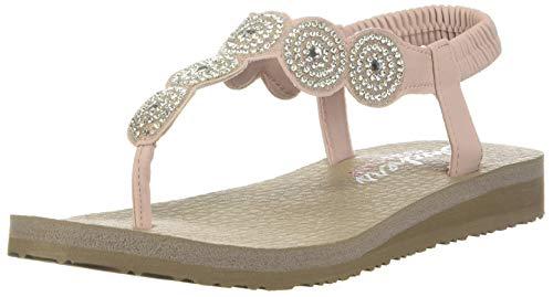 Skechers Women's Meditation-Stars & Sparkle-Circular Rhinestone Slingback Thong Flip-Flop, Light Pink, 8 M US