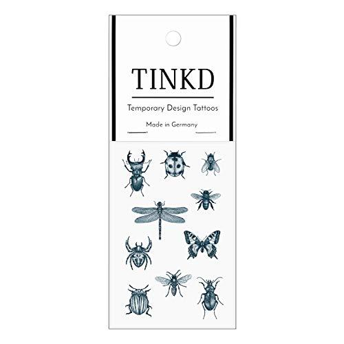 TINKD Tattoo-Sticker Insekten - Libelle Käfer Biene Fliege - Made in Germany