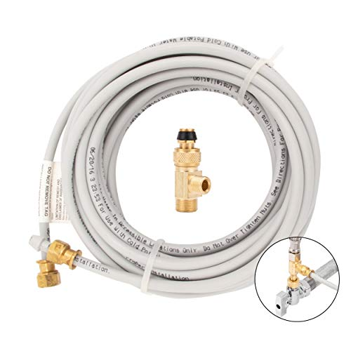 PEX Ice Maker Installation Kit 25 Feet of Tubing for Appliance Water Lines with Stop Tee, 1/4' Compression Fittings, for Potable Drinking Water