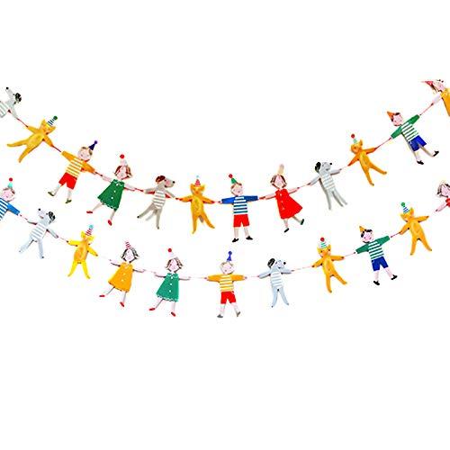 12 Piezas Banderines de Tela Banderitas Decorativas Guirnalda Infantil Habitacion Decoración de Fiesta de Cumpleaños Infantil