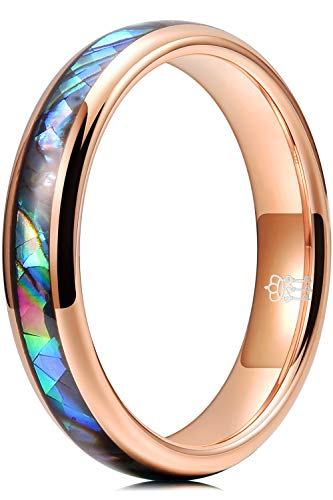 THREE KEYS JEWELRY Women 4mm Wedding Bands Tungsten Abalone Shell Inlay Viking Carbide Ring with Jewels Polished Infinity Unique for Her Rose Gold Size 7