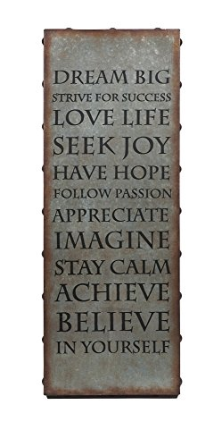 Imax 89130 Galvanized Inspirational Wall Art with Keyhole Hanger – Lightweight, Motivational Quote Poster for Home Schools, Offices, Meditation Centers, Fitness Centers. Wall Decor