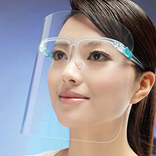 KEPLIN 404629 10 Face Protective Shield Visor with Glasses,Easy Wear,Transparent Plastic Face Visor Adjustable Resistant to Prevent Splashes, Anti-Fog Lens for Daily activities & Working