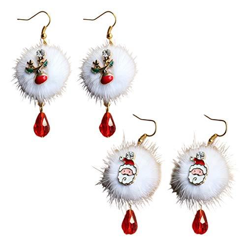 Team99 2 pares de pendientes de Navidad de Papá Noel, ciruela, ciervos, bola de terciopelo, gancho colgante de gota de cristal, regalo de Navidad