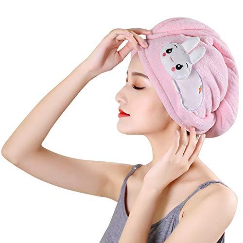 WFF Sombrero Wrap de Toalla de Pelo Largo, Turbante de Pelo de Microfibra con botón, Sombrero de Pelo seco, Toalla de Secado de baño de Secado rápido Transpirable Toalla de Secado 9.8 Pulgadas x 25.5