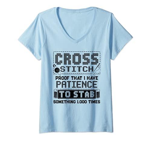 Mujer Divertido punto de cruz aguja aguja arte costura regalo Camiseta Cuello V