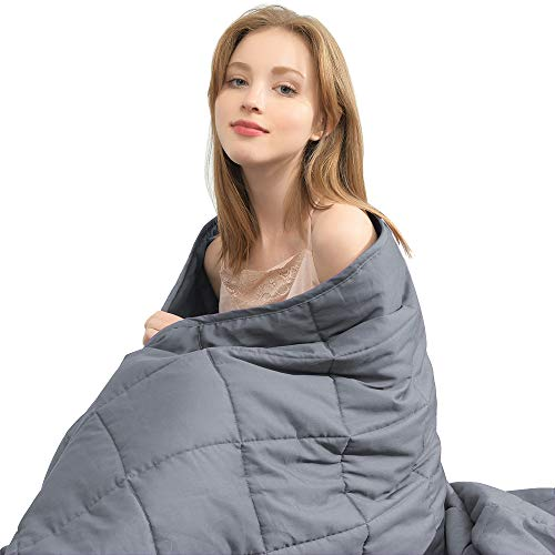 """Ourea Weighted Blanket for Adults, Twin Size (15 pounds, 48""""x 72"""") Soft Fabric with Safe Glass Bead-Dark Grey"""