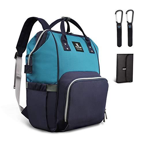 Hafmall Wickeltasche Rucksack Wasserdichte Reise Babytasche, Stilvolle Große Kapazität Baby Wickelrucksack mit Wickelunterlage und Kinderwagen Haken (Marine Blau+See Blau)