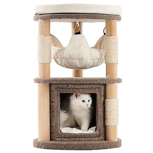 Árbol para Gatos de Lujo de 67cm Acogedor Sofá Condominio Cubierto de Tela con Tapete Extraíble Postes Rascadores de Sisal Hamaca Suave Torre para Gatos Perchas Superiores Acolchadas