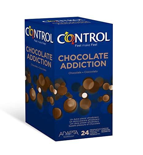 Control Chocolate - Caja de condones con aroma y sabor a chocolate, lubricados de color marrón, perfecta adaptabilidad, sexo seguro, 24 unidades