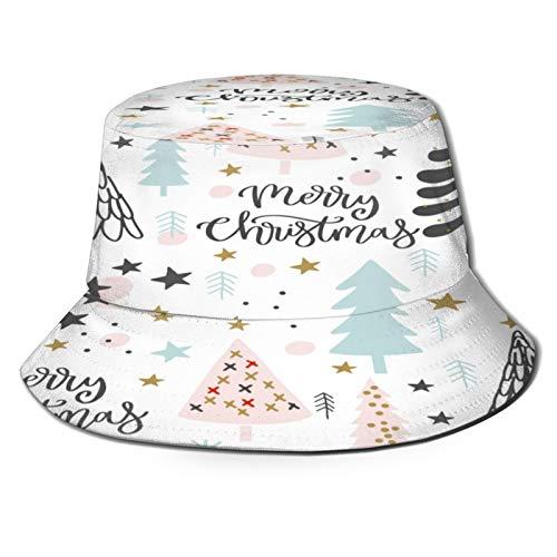 Sombrero de Pescador Unisex Envoltorio de Regalo de Fondo de Patrones sin Fisuras de Navidad Plegable De Sol/UV Gorra Protección para Playa Viaje Senderismo Camping