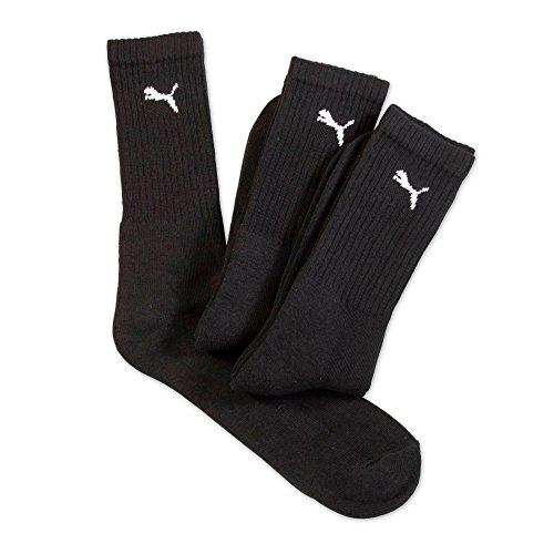 Puma - Caletines tobillero deportivos lisos hombre/caballero - Pack de 3 pares de calcetines - Running/Gym/Deporte (43-46 EUR/Negro)