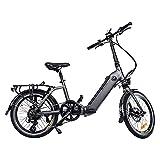 E-Bike AsVIVA B13 Stadtfalter 20 Zoll, Faltrad (17,5Ah Samsung Cell Akku), Klapprad, 7 Gang Shimano Kettenschaltung, Bafang Heckmotor, Scheibenbremsen, grau