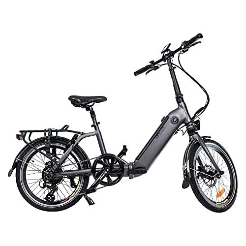 AsVIVA E-Bike B13 Stadtfalter 20 Zoll, Faltrad (17,5Ah Samsung Cell Akku), Klapprad, 7 Gang Shimano Kettenschaltung, Bafang Heckmotor, Scheibenbremsen, grau